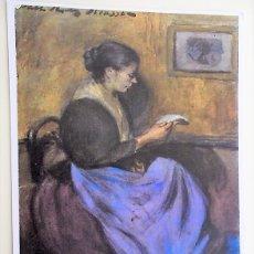 Postales: MUJER SENTADA LEYENDO DE PICASSO. 27 MUSEO PICASSO DE BARCELONA. ESCUDO DE ORO. NUEVA. COLOR. Lote 171659252