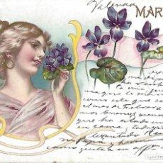 Postales: POSTAL MODERNISTA MARZO. 1902. 13,5 X 9 CM.. Lote 172714920