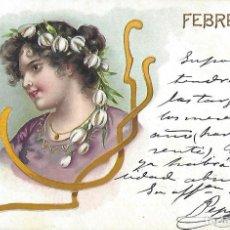 Postales: POSTAL MODERNISTA FEBRERO. 1902. 13,5 X 9 CM.. Lote 172715004