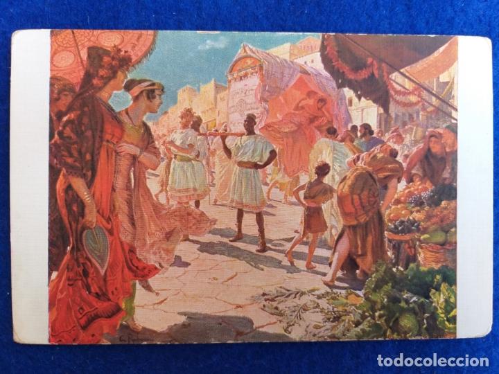 POSTAL ANTIGUA. DEL CUADRO LA LITIERE. DE: GEORGES-ANTOINE ROCHEGROSSE. SALÓN DE PARIS 1912. FRANCIA (Postales - Postales Temáticas - Arte)