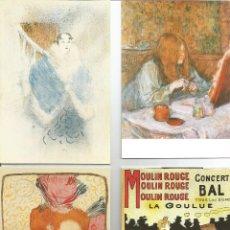 Postales: TOULOUSE LAUTREC.1O OSTALES DE CUADROS DEL PINTOR.IMPRESAS EN FRANCIA. Lote 173991224