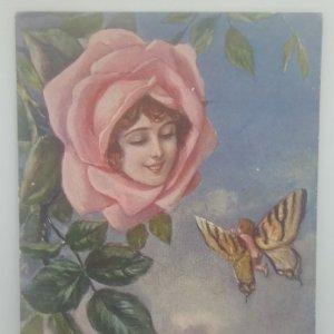 Año 1920 Postal Nº4150 Niño mariposa. Mujer flor 26/02/1920
