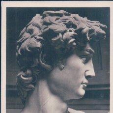 Postales: POSTAL ESCULTURA FIRENZE - GALLERIA ANTICA E MODERNA - TESTA DEL DAVID - MICHELANGELO. Lote 177654158
