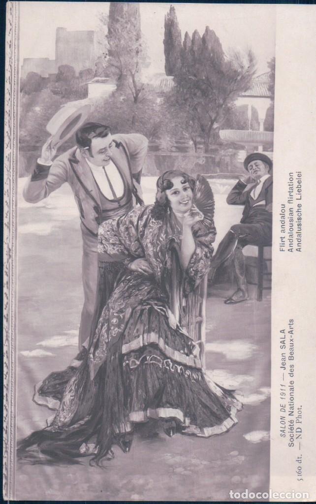 POSTAL SALON DE 1911 - JEAN SALA - FLIRT ANDALOU - ANDALUCIA FLAMENCO GITANA (Postales - Postales Temáticas - Arte)