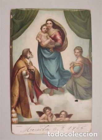 MADONNA SIXTINA. TARJETA POSTAL ALEMANA. CIRCULADA Y FECHADA EN MÉRIDA EN 1905 (Postales - Postales Temáticas - Arte)