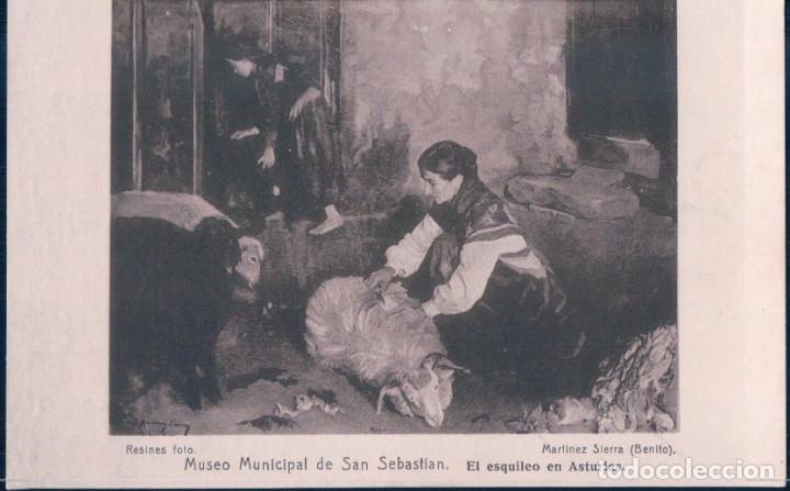 POSTAL MUSEO MUNICIPAL DE SAN SEBASTIAN. EL ESQUILEO EN ASTURIAS. ED. RESINES FOTO. (Postales - Postales Temáticas - Arte)