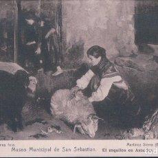 Postales: POSTAL MUSEO MUNICIPAL DE SAN SEBASTIAN. EL ESQUILEO EN ASTURIAS. ED. RESINES FOTO.. Lote 179329816
