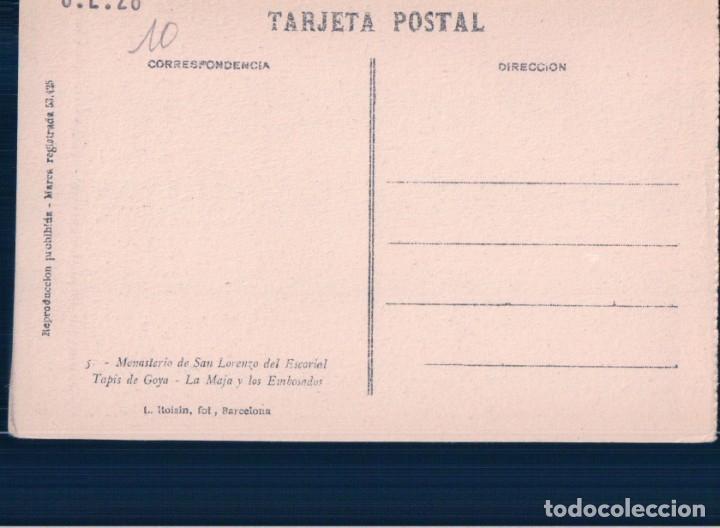 Postales: POSTAL TAPIS DE GOYA LA MAJA Y LOS EMBOSADOS - MONASTERIO DE SAN LORENZO ESCORIAL - ROISIN - Foto 2 - 179330526