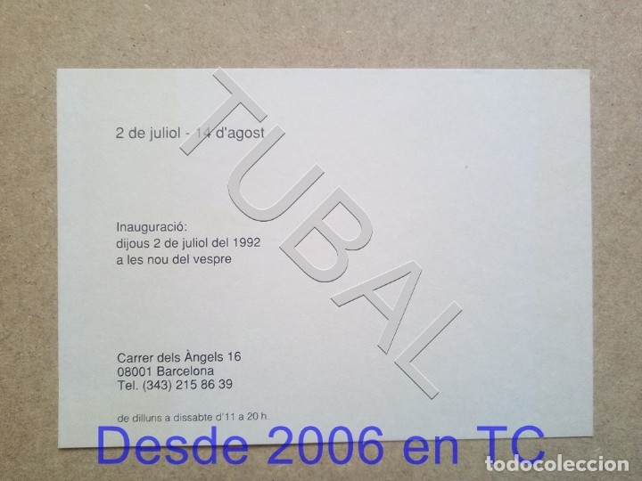 Postales: TUBAL MUNTADAS CIUTAT MUSEU 1992 BARCELONA POSTAL TARJETA ENVÍO 70 CENT 2019 B05 - Foto 2 - 180104922