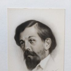 Postales: TARJETA POSTAL DEL MÚSICO DEBUSSY. DIBUJO DE BERNARDINO DE PANTORBA. 1945. Lote 180425325