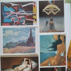 Postales: LOTE TARJETAS Y POSTALES DE PINTURA. KANDINSKY, GOYA, VAN GOGH, ERNST, PICASSO, CHIRICO. Lote 180495765