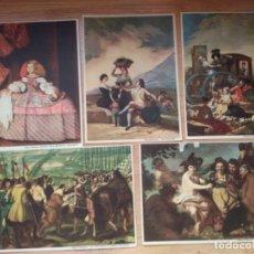Postales: POSTALES (5) REPRODUCCIONES ARTÍSTICAS DE GOYA Y VELAZQUEZ. COLECCION LABORATORIO FARMACÉUTICO GREY. Lote 180904176