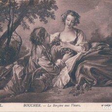 Postales: POSTAL MUSEE DU LOUVRE - PARIS - BOUCHER - LA BERGERE AUX FLEURS - LL . Lote 183293540