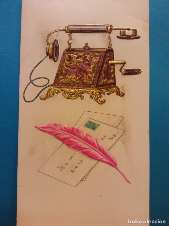 TELEFONO ANTIGUO, CARTAS Y PLUMA. DÍPTICO. NUEVO (Postales - Postales Temáticas - Arte)