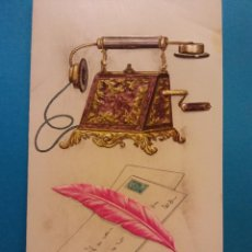 Postales: TELEFONO ANTIGUO, CARTAS Y PLUMA. DÍPTICO. NUEVO. Lote 184335375