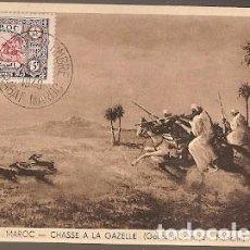 Postales: MARRUECOS & MARCOFILIA, CAZANDO GACELA, GOUACHE SCHMIDT, FLANDRIN, RABAT A ALGER 1949 (8754). Lote 184689085