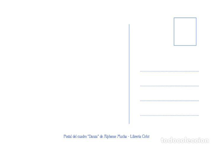 Postales: Postal del cuadro Danza, de Alphonse Mucha. Tema: Pintura, Modernismo, Art Noveau, Arte. - Foto 2 - 241011160