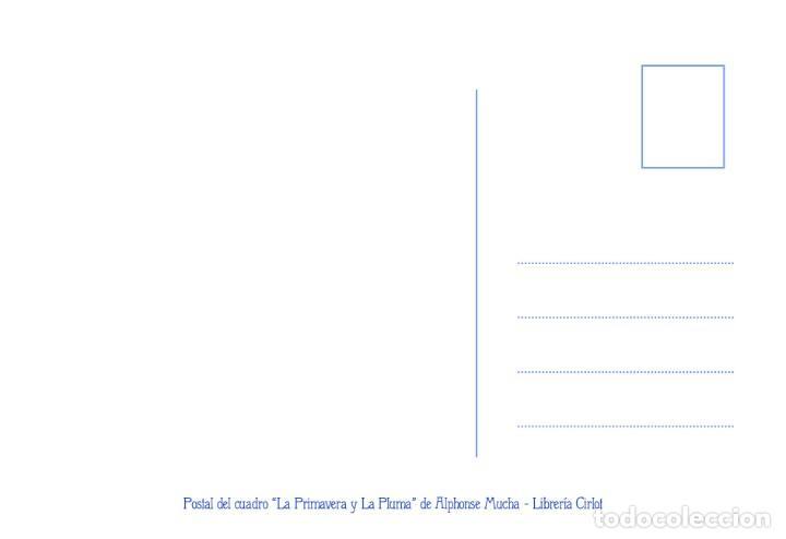 Postales: Postal del cuadro La Primavera y La Pluma, de Alphonse Mucha. Tema: Pintura, Modernismo, Art Noveau. - Foto 2 - 241010985