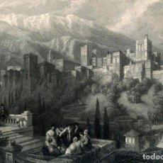 Postales: POSTAL DEL GRABADO LA ALHAMBRA VISTA DESDE EL ALBAICÍN, DE DAVID ROBERTS. TEMA: GRANADA, SIGLO XIX.. Lote 264337104