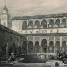 Postales: POSTAL DEL GRABADO EL PATIO DE LOS ARRAYANES, DE DAVID ROBERTS. TEMA: GRANADA, ALHAMBRA, SIGLO XIX.. Lote 264337100