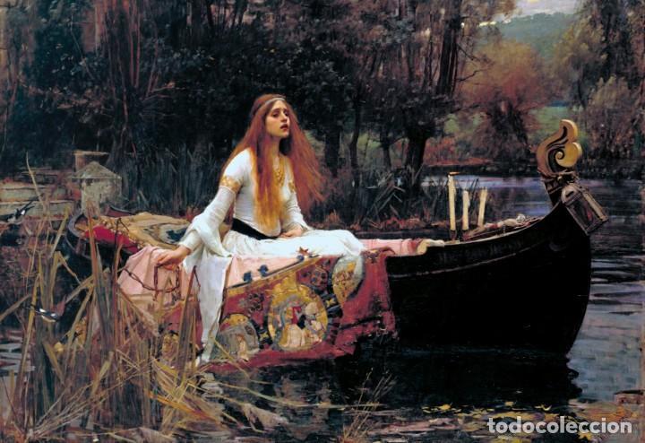 POSTAL DEL CUADRO THE LADY OF SHALOTT, DE JOHN WILLIAM WATERHOUSE. TEMA: PINTURA, PRERRAFAELISMO. (Postales - Postales Temáticas - Arte)
