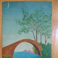 Postales: POSTAL REVERSO SIN DIVIDIR, PINTADA A MANO PUENTE..(ARTICULOS DE PINTURA M. OLIETE, ZARAGOZA).. Lote 192718257