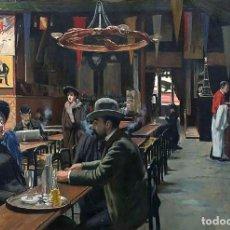 Postales: POSTAL DEL CUADRO CAFE DES INCOHÉRENTS, DE SANTIAGO RUSIÑOL. TEMA: PINTURA, ARTE, MODERNISMO.. Lote 235644955
