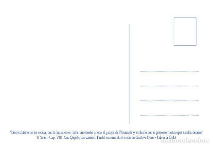 Postales: Postal de la ilustración Don Quijote Luchando contra los Molinos, de Gustave Doré. Tema: Cervantes. - Foto 2 - 288545698