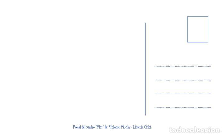 Postales: Postal del cuadro Flirt, de Alphonse Mucha. Tema: Pintura, Modernismo, Art Noveau, Arte. - Foto 2 - 241021240