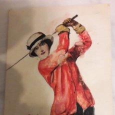 Postales: ANTIGUA POSTAL GOLFING PINTADA A MANO Y FIRMADA. Lote 194249416