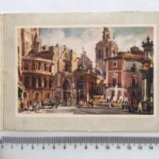 Postales: FELICITACIÓN NAVIDAD. DIPTICO. PLAZA DE LA VIRGEN. VALENCIA. ILUSTRACIÓN FRESQUET.. Lote 194750935