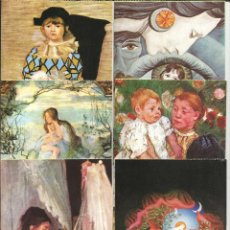 Postales: LOTE 6 POSTALES EDICIONES LZM, PICASSO, ULRICH WOLF, MARY CASSAT, SEGANTINI, B. MORISOT - 1978. Lote 194975821
