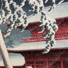 Postales: POSTAL DE LA ESTAMPA NIEVE EN EL TEMPLO ZÔJÔ-JI, EN SHIBA, TOKYO, DE HASUI KAWASE. ARTE JAPONÉS.. Lote 195526350