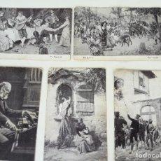 Postales: LOTE 13 CROMOS ANTIGUOS POSTALES PUBLICITARIAS AMATLLER MARCA LUNA. PINTURAS DE FAMOSOS ARTISTAS. Lote 199077893