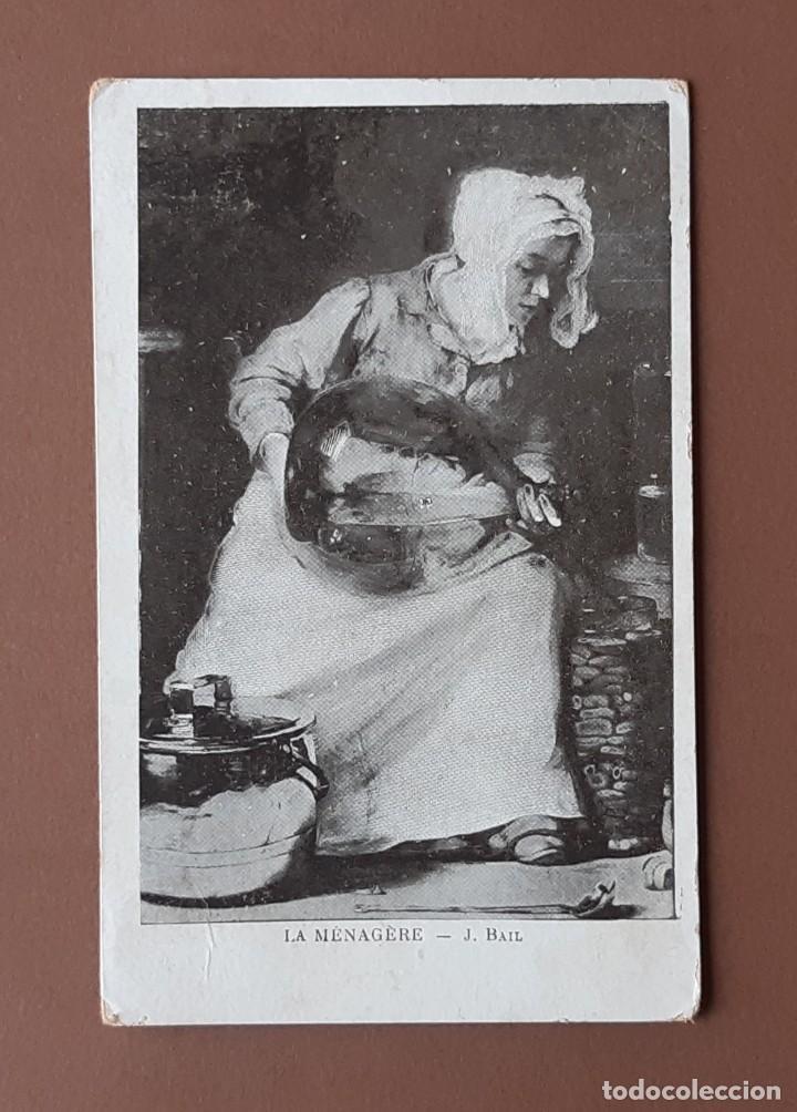 POSTAL LA MÉNAGÈRE. BAIL. CIRCULADA EN 1905 DE AULNAY DE SAINTOGNE A SAINT JEAN DE ANGELY. CHARENTE. (Postales - Postales Temáticas - Arte)