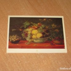 Postales: FRANS SNYDERS BOWL OF FRUIT ON A RED TABLE-CLOTH. Lote 206879546