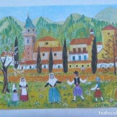 Postales: POSTAL DE UNA PINTURA NAIF DE INGEBORG GAUGER : LA CARTUJA DE VALLDEMOSA, PALMA DE MALLORCA. Lote 217046876