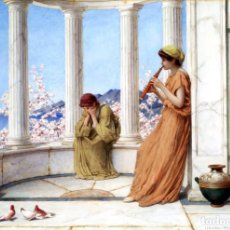 Postales: POSTAL DEL CUADRO CLASSICAL MAIDENS ON THE TERRACE, ONE PLAYING AN AULOS DE HENRY RYLAND. TEMA: ARTE. Lote 228425560