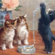 Postales: POSTAL DEL CUADRO TWO KITTENS WATCHING THE BLACK KITTEN, DE N. BERAUD. TEMA: GATOS, RAPHAEL TUCK.. Lote 219027868