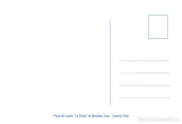 Postales: Postal del cuadro La Huida, de Remedios Varo. Tema: Pintura, Surrealismo, Arte. - Foto 2 - 288545658
