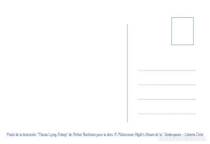 Postales: Postal de la ilustración Titania Lying Asleep, de Arthur Rackham. Tema: Sueño de una Noche de Verano - Foto 2 - 221434006