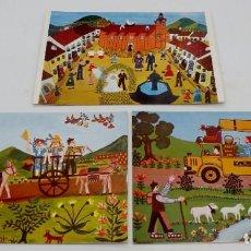 Postales: TRES POSTALES NAÏF REPRODUCIENDO OBRAS DE MERCEDES BARBA - NUEVAS. Lote 225464390