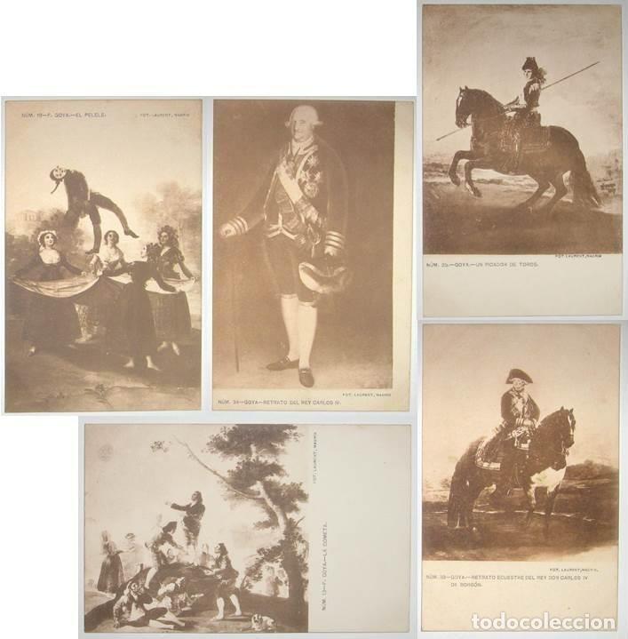 LOTE 5 POSTALES DE CUADROS DE GOYA. FOTO LAURENT. SIN CIRCULAR NI DIVIDIR. (Postales - Postales Temáticas - Arte)