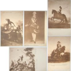 Postales: LOTE 5 POSTALES DE CUADROS DE GOYA. FOTO LAURENT. SIN CIRCULAR NI DIVIDIR.. Lote 235414800