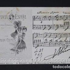 Postales: POSTAL MUSICA FRANCIA ESPAÑA PARTITURA MARCHA ESPAÑOLA PARA PIANO POR AMAN COMES - CA 1910. Lote 243221345