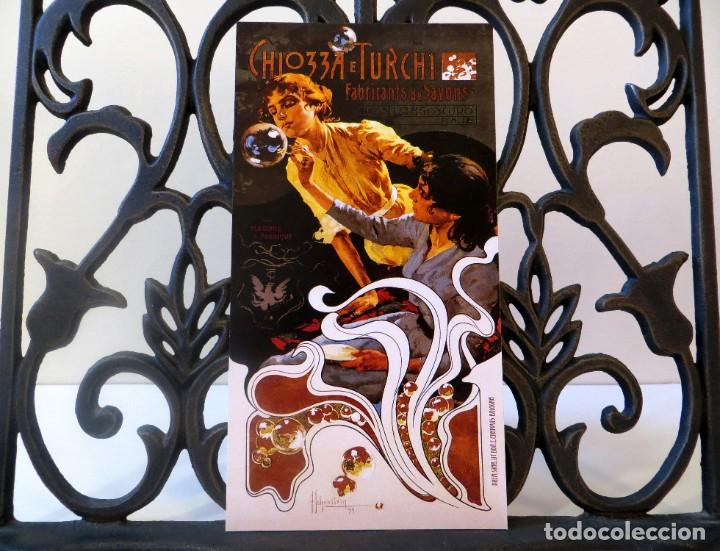 Postales: Postal del cartel Chiozza e Turchi, Fabricants de Savons, de Adolfo Hohenstein. Tema: Modernismo. - Foto 3 - 239850980