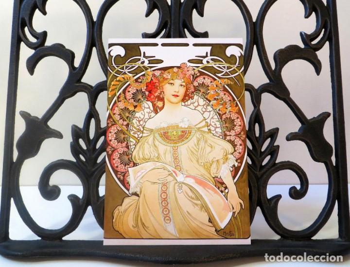 Postales: Postal del cuadro Ensueño, de Alphonse Mucha. Tema: Pintura, Modernismo, Art Noveau, Arte, Rêverie. - Foto 3 - 241011005