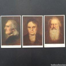 Postales: LOTE POSTALES ANTIGUAS ARTE LISZT , BEETHOVEN , BRAHMS , HERMANN TORGGLER AT. Lote 245452605