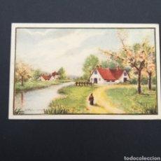 Postales: POSTAL ANTIGUA ARTE GABRIEL COMAS PAISAJE CASAS PUEBLO AT. Lote 246152240
