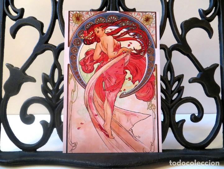 Postales: Postal del cuadro Danza, de Alphonse Mucha. Tema: Pintura, Modernismo, Art Noveau, Arte. - Foto 3 - 241011160